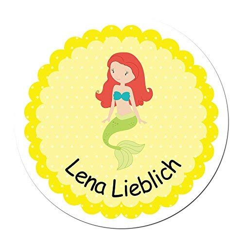 Papierdrachen 24 individuelle Aufkleber für Kinder - Motiv Meerjungfrau - personalisierte Sticker - Schule Einschulung (Scrapbooking Sticker Meerjungfrau)