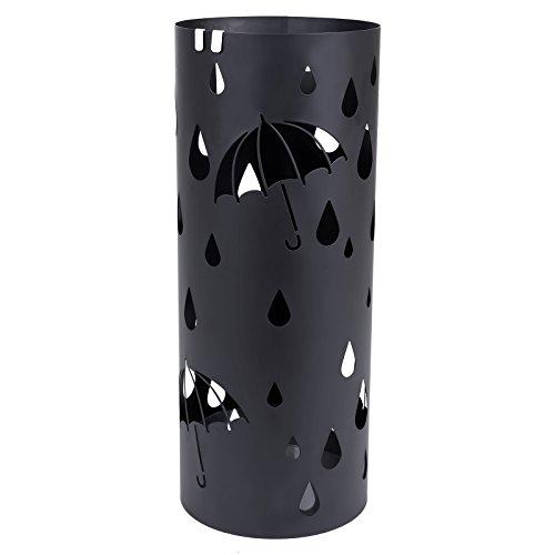 Songmics Schirmständer Regenschirmständer mit Wasserauffangschale Haken rund Ø 19.5 x 49 cm schwarz LUC23B