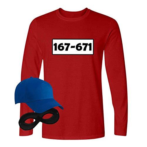 Panzerknacker Longsleeve Deluxe+ Kostüm-Set Wunschnummer Karneval Herren XS-5XL Gangster Verkleidung Fastnacht, Größe:M, Logo & Set:Standard-Nr./Set klassik (167-761/Shirt+Cap+Maske) (Deluxe Kostüm Männer)