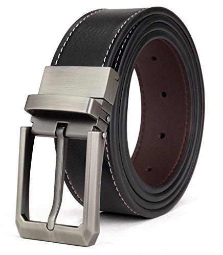 Echt Leder Gürtel Braun (Tonly Monders Herren Gürtel Leder Reversible, Rotierte Schnalle Schwarz/Braun, 32mm Breit, 35,36,37,Taillenumfang)