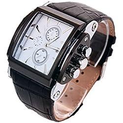 Mode sportliche Uhr für Mann Lederband Rechteckige Vorwahlknopf-Männer wasserdichte Uhren