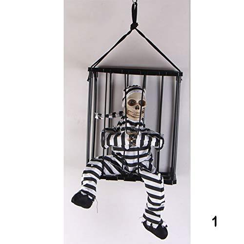 PUDDINGY® Halloween Spukhaus Terror Stütze Trickreich Spielzeug Induktion Erleuchten Stimme Tod Im Gefangenen Gefängnis Hängender Geist,1 (Des Halloween Todes Braut)