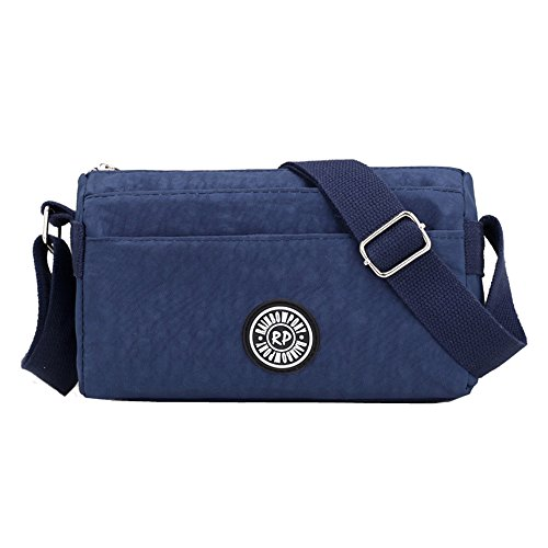 26ef7be5a352 Small Water Resistant Nylon Cross-body Shoulder Bags Lightweight Messenger  Bag (Navy blue)