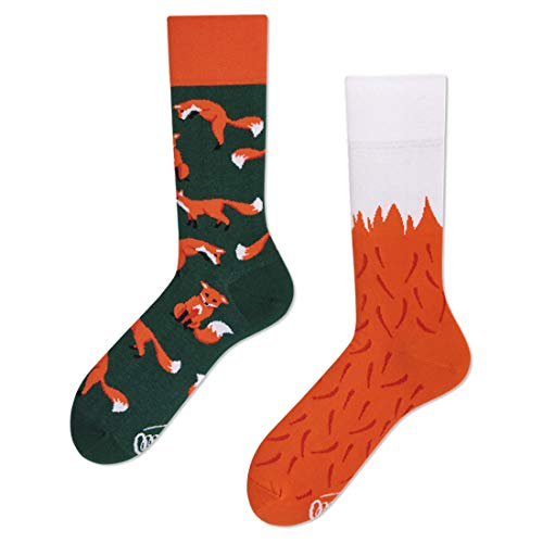 Many Mornings unisex Socken The Red Fox (Grün, Orange, Weiß, 43/46)