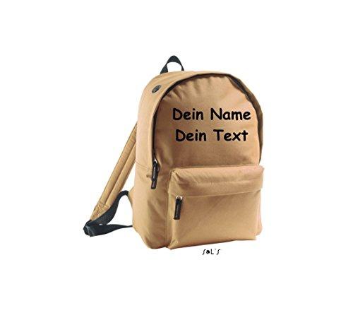 Shirtstown Unisex Rucksack individuell mit deinem Wunschtext versehen dune