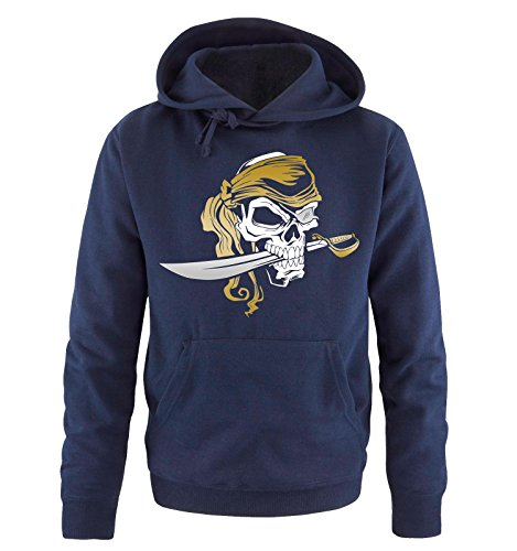 Comedy Shirts - BAD PIRATE - Uomo Hoodie cappuccio sweater - taglia S-XXL different colors blu navy / bianco-oro-argento