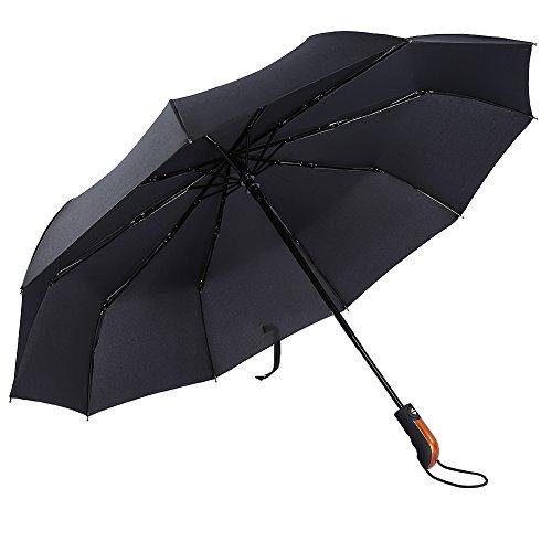 chirm mit 10 Rippen Auf-Zu-Automatik Winddicht Wasserdicht Rostschutz 210T Baldachin Regenschirm für Damen und Herren Schwarz ()