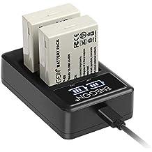 LP-E8 Batterie de Rechange (2 Paquets) et Chargeur Double Intelligent LED USB pour Canon LP-E8 et Canon EOS Rebel T2i, T3i, T4i, T5i, EOS 550D, 600D, 650D, 700D, Kiss X4,X5,X6