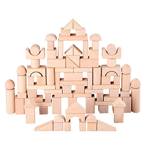 S+S Holzschloss-Bausteine, 100 Fässer Mit Großen Holzklotzblöcken Für Kinder, Baby-Puzzlespiel-Stapel- Und Bauspielzeug -