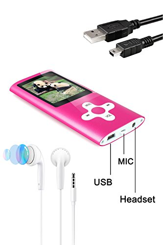 Tabmart® MP3 MP4 Musik Player Inklusiv 16 GB MicroSD Unterstützung Audio Player Media Player FM Radio E-Books Integrierter Lautsprecher Lange Akkulaufzeit 1,81 Zoll Farbdisplay Musik Player Rot