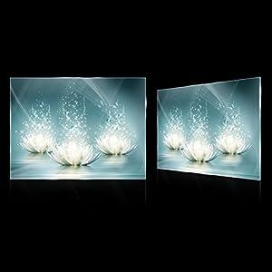 DekoShop Glasbild Echtglas Glasfoto Wandbild Lilie AMDGT10224G3 G3 (60cm. x 40cm.) Real Glass Picture Print | Abstraktion Blau Lilie Kunst Design
