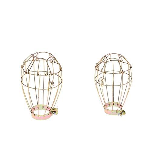 perfk 2pcs Gold Käfig Draht Lampenschirm Schutzkorb für Terrarium Lampe Wärmestrahler
