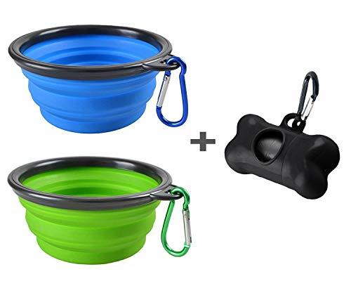Mogoco Hundenäpfe (2 Stück), trag- und klappbare Schüsseln, aus lebensmittelechtem Silikon, BPA-frei, in Grün und Blau, als Futter und Tränkebehälter für Hund oder Katz, inkl. Kotbeutelspender