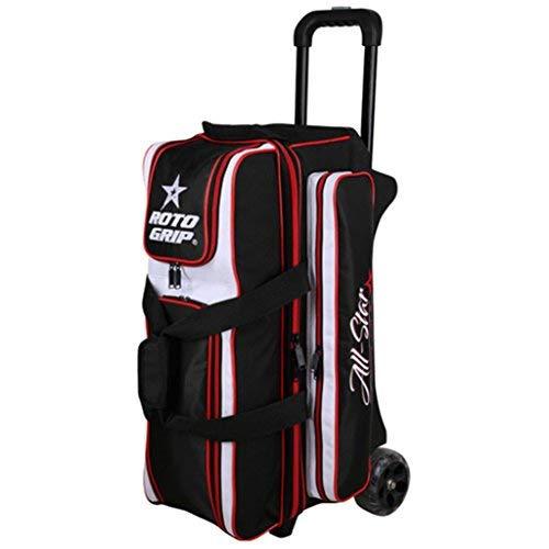 Roto-Grip Bowlingtasche mit 3 Rollen, All Star Edition, 3 Ball Roller Bowling Bag All Star Edition, schwarz/weiß/rot (Bowling Bag Für Einen Ball)