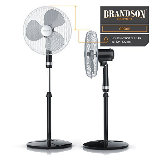 Brandson – Standventilator 40cm | Ventilator Standfuß höhenverstellbar | hoher Luftdurchsatz | 3 verschiedene Geschwindigkeitsstufen | Oszillationsfunktion ca. 80° | silber/schwarz Bild 4*