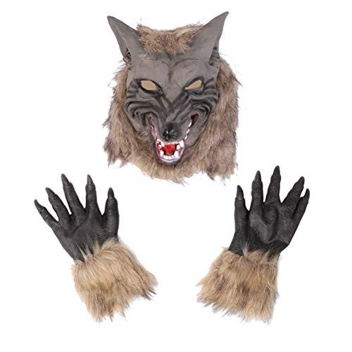 Amosfun Werwolf Kostüm Wolf Claws Handschuhe und Kopfmaske für Halloween Cosplay Kostümparty (Halloween Zeichnen Werwolf)