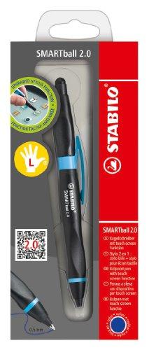 Bolígrafo retráctil ergonómico con puntero para pantallas táctiles STABILO SMARTball 2.0 - Tinta azul - Cuerpo negro/azul - Modelos para ZURDOS