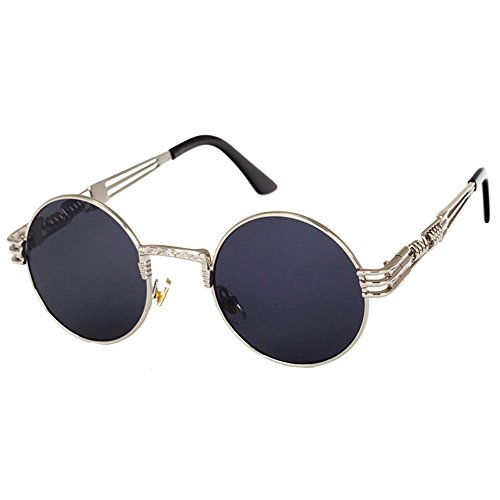 Highdas Steampunk Punk Rock Shades Vintage Runde Sonnenbrille C10