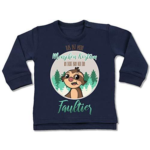 Zwei Spaß Menschen Kostüm - Shirtracer Karneval und Fasching Baby - Das ist Mein Menschen Kostüm in echt Bin ich EIN Faultier - 18-24 Monate - Navy Blau - BZ31 - Baby Pullover