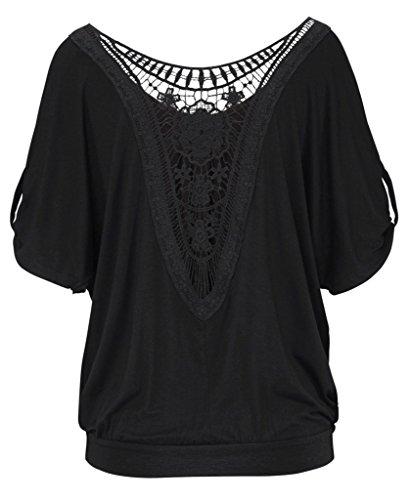 Bigood Femme T-shirt Dentelle Creux Blouse Rond Col Chemise Uni Noir