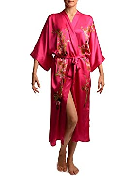 Pink With Sakura Bloom Luxurious Silk Dressing Gown (Robe) - Rosa Vestaglia Taglia Unica (165 cm)