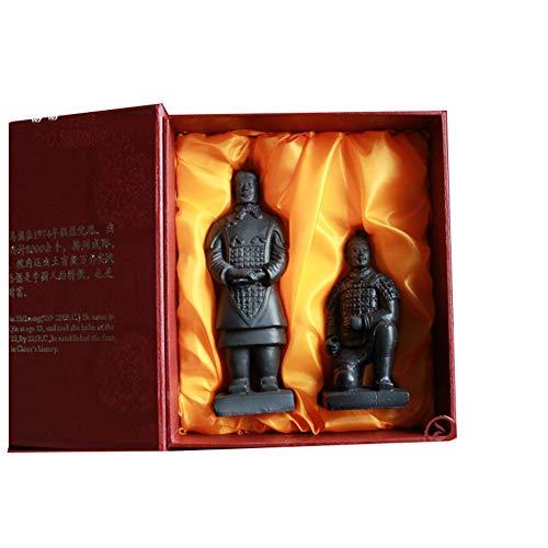 LJSHU Artesanía China Antigua Dinastía Qin Terracota Guerreros Estatua Hogar Resina Xi'an Decoraciones De Recuerdos Turísticos Enviar Amigos Regalos De Dos Piezas, B