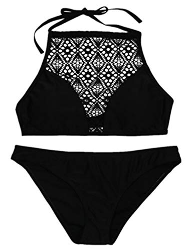 TEBAISE 2019 Sommer Triangel-Neckholder Push-Up BH Bikini Bikini-Sets Halfter Badeanzug Set Beach Gehäkelt Geteilter Bademode Swimsuit Beachwear Straps Hängenden Hals Tankinis Spitze Strand