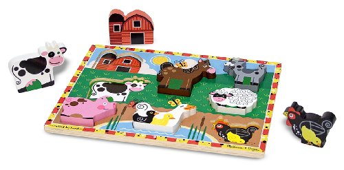 Melissa & Doug Farm Wooden Chunky Puzzle, 8 Pieces