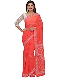 ADA Faux Georgette Saree With Blouse Piece(A219386_Carrot Pink Free Size)