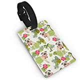 Pug Hula Tropical Hawaii Islands Dog Breed Light Travel Luggage Tags Name ID Identification Labels Set for Bags Baggage Suitcases Thick PVC Wristband