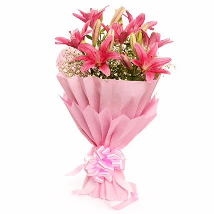 Floralbay Pink Asiatic Lilies Fresh Flowers in Paper Wrapping (Bunch Of 8)