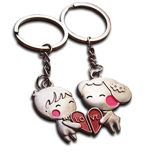 Coppia di portachiavi ad anello a tema amore, regalo per la dolce metà per san valentino, anniversario di matrimonio, fidanzata, fidanzato