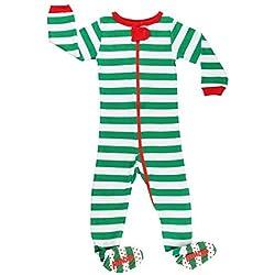 Elowel - Pijama para Bebe nisexo Ninos Ninas, (Talla 6 m-5 Anos), 100% Algodon, con Diseno de Verde y Blanco Navidad Conjunto'' 18-24 Meses