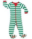elowel Baby Boys Girls Footed Christmas Striped Pajama Sleeper Cotton Size 6M-5Y 2 Years