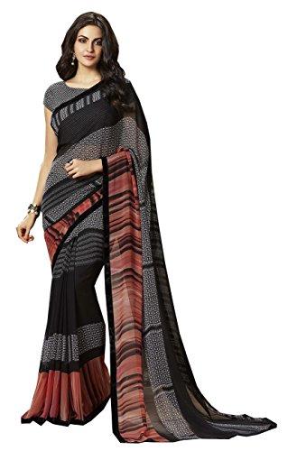 Roop Kashish Women's Black Georgette Saree With Velvet Border and Blouse_RKSALS827