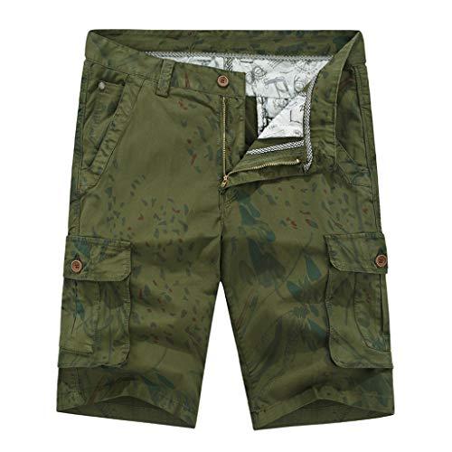 Xmiral Shorts Herren Reißverschluss Overall Streifen Kurze Hose Mit Taschen Sports Hose Training Shorts Fitness Beachshorts(X Armee Grün,M)