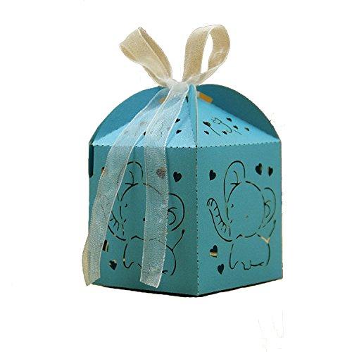 Lance home® 50pz bomboniere carta, cava fuori elefante bambino candy scatole regalo, scatole cubo confetti di nascita bambino compleanno portaconfetti segnaposto nastro accessori compres (blu)