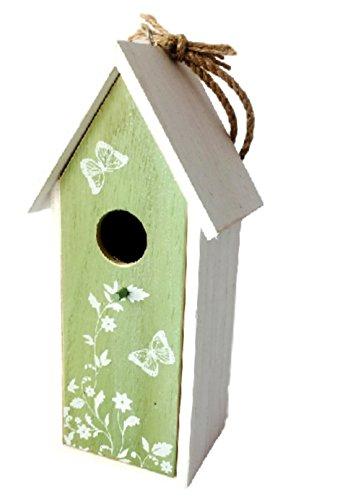 Vogelhaus Nistkasten aus Holz grün zum hängen mit Schmetterlingen mit herausnehmbarem Innenteil und Futtertrog innen, 25cm x 9cm x 8cm Gesamtlänge ca. 50cm dank Kordel zum hängen,