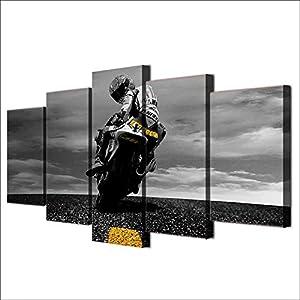 BESTYAN Leinwand Wand Kunst Valentino Rossi Yamaha Motogp Bild Plakat für Wohnzimmer Wanddekoration Home Decoration 5…
