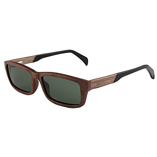 Ppy778 UV400 Bambus Sonnenbrillen, Unisex Retro Holzoptik Gläser, Classic Wood Shades Damen Herren (Color : Brown)