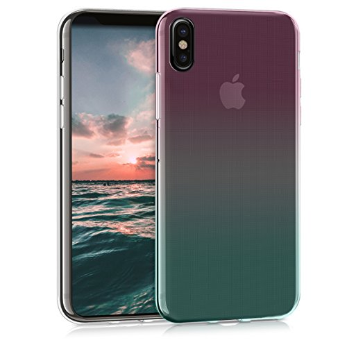 kwmobile Apple iPhone X Cover - Custodia per Apple iPhone X in Silicone TPU - Back Case Cellulare Verde Scuro