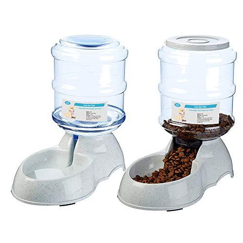 【Alimentos y agua a gran volumen}  Este dispensador de alimentos puede contener hasta 3,75 litros (2 kg) de alimentos, y el dispensador puede contener agua para un volumen de 3,75L, para garantizar que sus gatos o perros puedan tener suficiente comid...