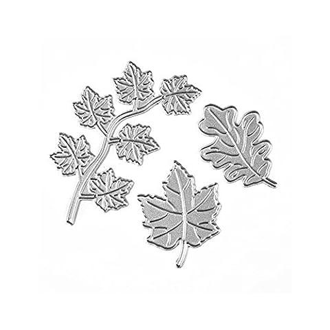 Enipate 3pcs Maple Leaf Scrapbook DIY album Card Paper Card Maker Metal Die Cut Stencil Decoration dies Craft Cutting Dies