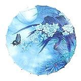 33 Zoll Chinesische/japanische Art handgemachte Sonnenschirm Vintage Papier Regenschirm, Blühende Orchidee
