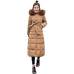 Longue Manteau Femme,Veste à Capuchon Coton-Doudounes Manteaux de Poche Fourrure Artificielle Bringbring