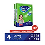 Fine Baby Diapers Green Fast Sorption, Large 7-14 Kgs, Mega Pack, 148 Count
