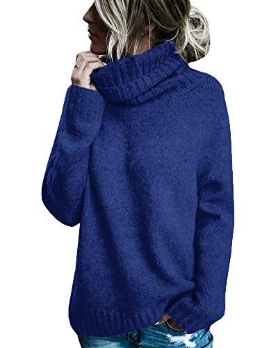 Gemijacka Damen Casual Rollkragen Langarm Weiche Wolle Strickpullover Pullover Tops (Small, Blau) - Chunky Wolle Pullover