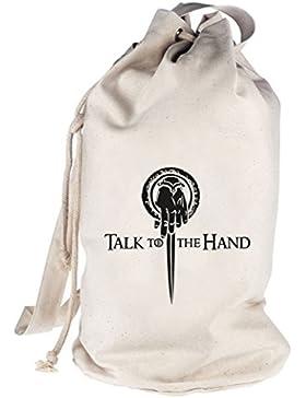 Shirtstreet24, Talk To The Hand, bedruckter Seesack Umhängetasche Schultertasche Beutel Bag