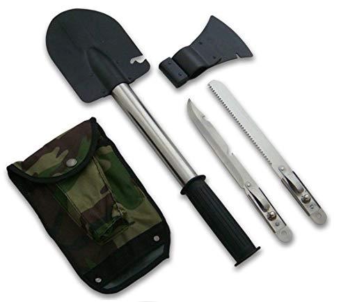 KOSxBO® Set 4 in 1 Multitool - Militär BW klappbar Klappsparten inklusive Säge, Messer, Axt und Tasche -