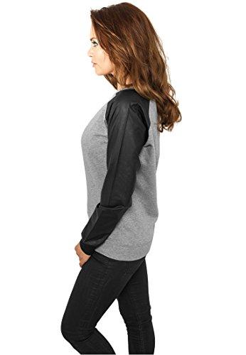 Urban Classics Damen Sweater Leather Imitation Wideneck Crew Grigio/Nero